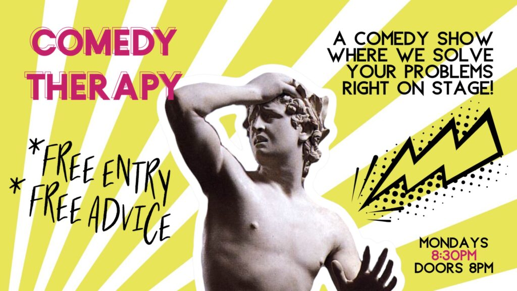 Comedy Therapy in FriedrichshainFriedrichshain Mon Jul 13 @ 8:30 pm - 10:30 pm|Recurring Event (See all)An event every week that begins at 8:30 pm on Monday, repeating until Mon Jun 22, 2020An event every week that begins at 8:30 pm on Monday, r