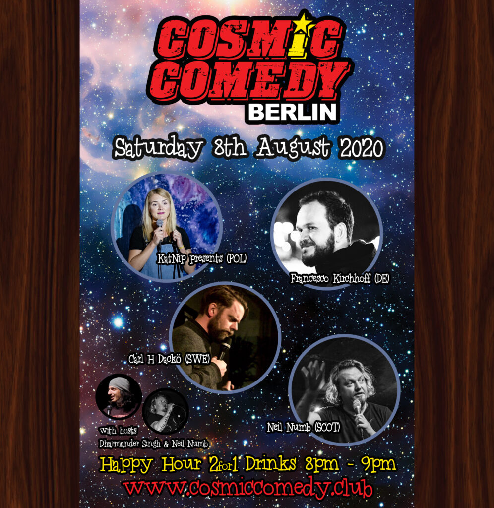 Cosmic Comedy Club with Free Vegetarian & Vegan PizzaMitte Sat Aug 8 @ 7:45 pm - 11:00 pm